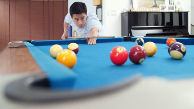 young man playing billiard (snooker)/snooker player - injecting stock videos & royalty-free footage