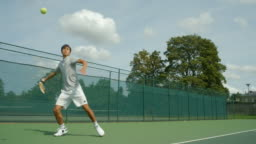 A young man playing tennis plays a great shot from the baseline and celebrates.