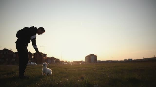 Junger Mann spielt mit seinem Hund bei Sonnenuntergang mit seinem Hund auf Wiese