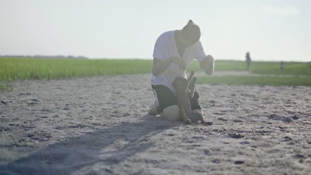 young man plays with puppy in sand at coastal marsh. - badbyxor bildbanksvideor och videomaterial från bakom kulisserna