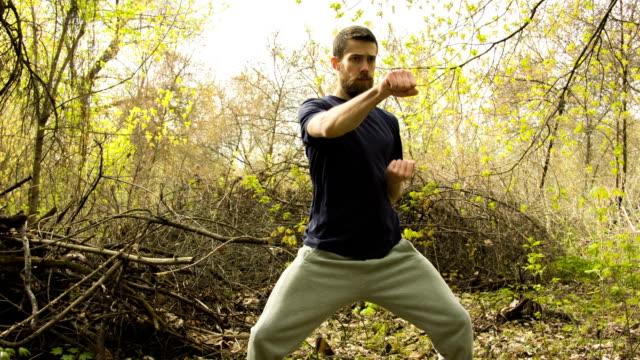 junger mann üben karate in der frühlingswald. - karate stock-videos und b-roll-filmmaterial