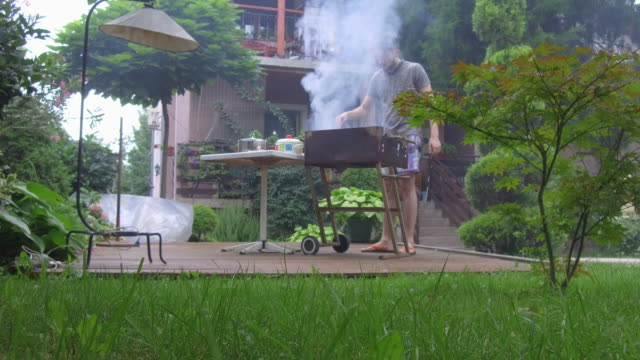 stockvideo's en b-roll-footage met jongeman voorbereiding van barbecue - formal garden