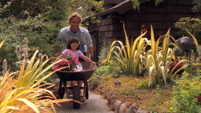 SLO MO, WS, DS, MS, Young man pushing girl (4-5) in wheelbarrow through garden, Cambria, California, USA