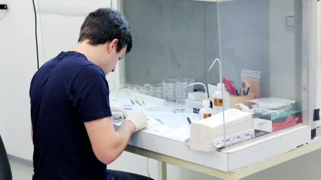 vídeos de stock, filmes e b-roll de jovem pesquisador preparação científicas amostras para exame - amostra científica