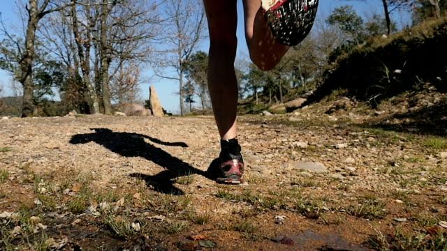 vídeos y material grabado en eventos de stock de joven corriendo en el camino del bosque - strength