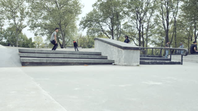 A young man skateboards at a park in Queens, NYC - slow motion - 4k