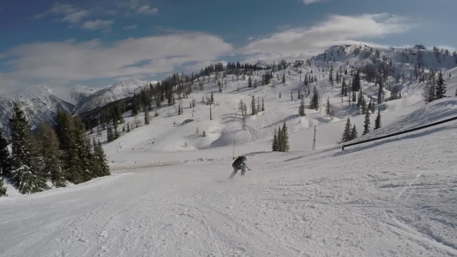 A young man skier performing grind tricks in terrain park. - Slow Motion