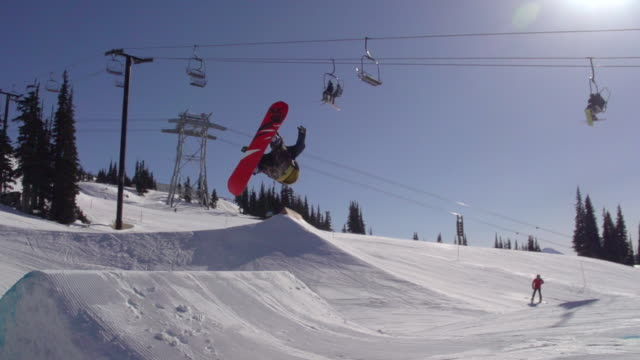 A young man snowboarder doing a flip off a jump in a terrain park.  - Slow Motion