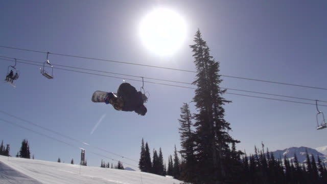 A young man snowboarder doing a flip off a jump in a terrain park.  - Super Slow Motion - filmed at 240 fps