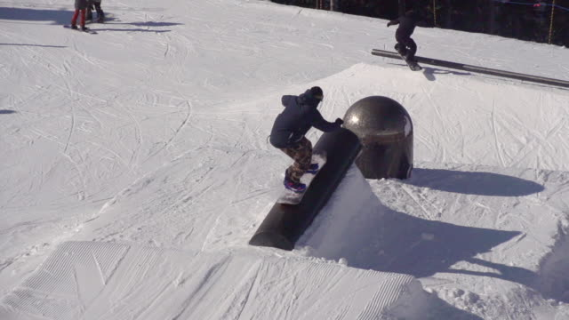 A young man snowboarder doing tricks on a rail in terrain park.  - Super Slow Motion - filmed at 240 fps
