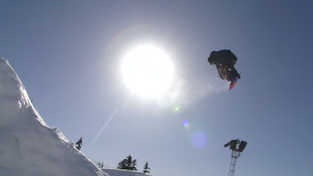 A young man snowboarder going off jumps in a terrain park.  - Slow Motion