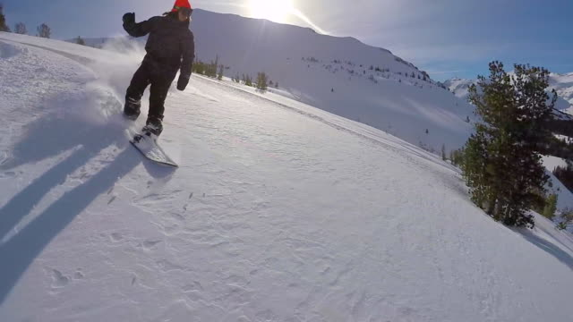 a young man snowboarding fresh power snow through trees in the mountains. - slow motion - skiing and snowboarding stock videos and b-roll footage