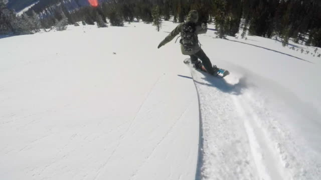 a young man snowboarding fresh power snow through trees in the mountains. - slow motion - jacket stock videos and b-roll footage