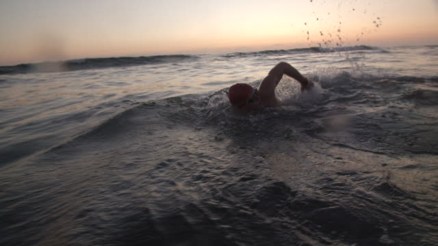 sm ts young man swimming in the ocean at sunset - triatleta video stock e b–roll