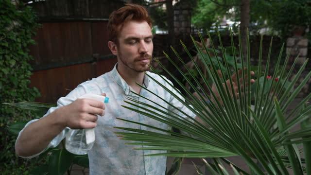 裏庭で母親と一緒に植物の世話をする若者 - 水撒き点の映像素材/bロール
