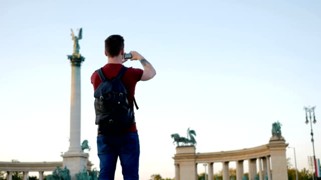 Young man traveling around Europe - time lapse footage