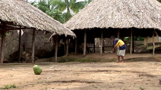 a young man uses a blowgun to shoot a dart at a gourd. - gourd stock videos and b-roll footage
