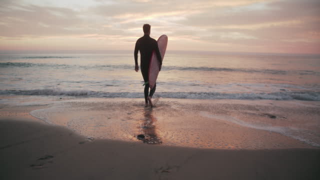 vídeos de stock, filmes e b-roll de ws sm young man walking into the water with surfboard - diving suit