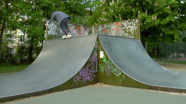 ws young man wearing suit inline skating on pipe, berlin, germany - half pipe stock videos & royalty-free footage