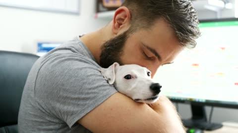 vídeos de stock, filmes e b-roll de jovem com um cão - terrier