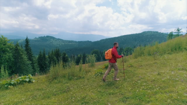 young man with backpack and pole hiking - hiking pole stock videos and b-roll footage