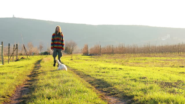 Young Man With Dreadlocks And His Dog  On a Walk Through Fields