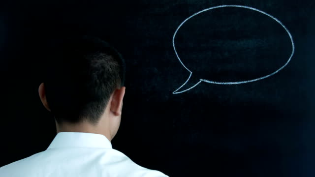 young man with empty speech bubble. - speech bubble stock videos & royalty-free footage