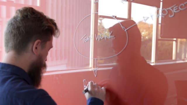 Young man working on clear writing board.