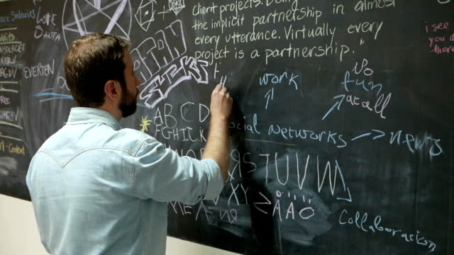 Young man writes on a black board in the office