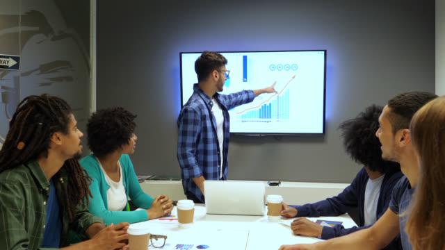 vídeos de stock, filmes e b-roll de jovem gerente liderando uma reunião com sua equipe, apontando para a tela e o aumento das vendas olhando todos felizes e palmas - sales occupation