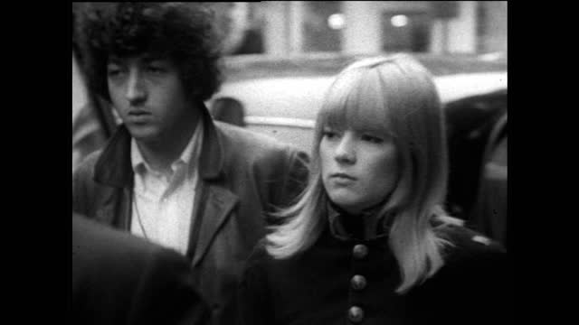 young men and women in 1960s fashion on carnaby street, london; 1967 - nostalgia stock videos & royalty-free footage
