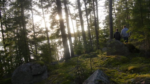 stockvideo's en b-roll-footage met young men hiking through a forest near a lake. - slow motion - finland