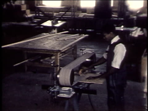 1940 montage young men in a woodworking shop / united states - carpenter stock videos and b-roll footage