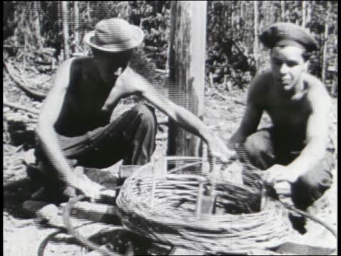 young men work for the ccc and the federal works program. - civilian conservation corps video stock e b–roll