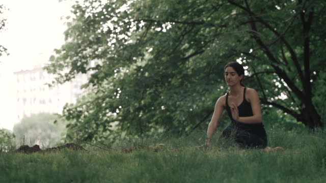 stockvideo's en b-roll-footage met a young, middle eastern woman practices yoga, outside. - in kleermakerszit