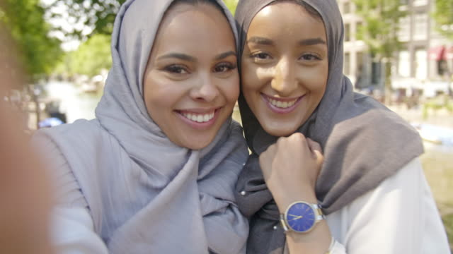 young modern muslim friends - hijab stock videos & royalty-free footage