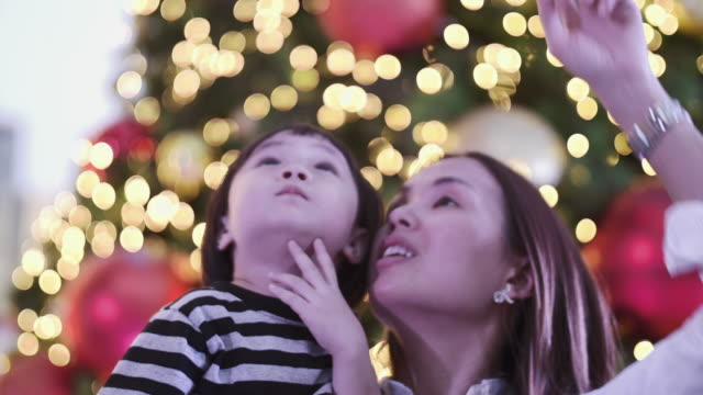 Young Mother And Baby Girl Enjoyment In Christmas Festival