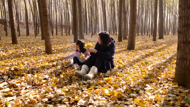 Young mother and daughter playing in Autumn forest
