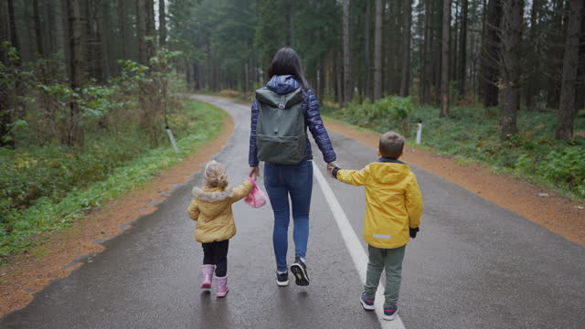 young mother holding her kids for hands while walking on the middle of the road in nature, back view - middle of the road stock videos & royalty-free footage