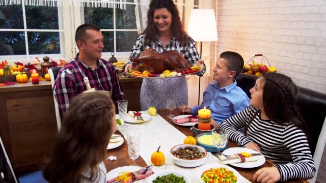 young mother serving freshly baked stuffed turkey for thanksgiving day - thanksgiving stock videos & royalty-free footage