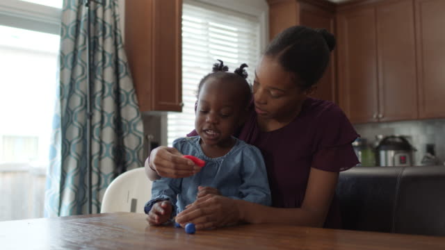 young mother shares precious moment with young daughter - single mother stock videos & royalty-free footage