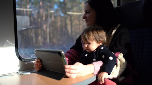 young mother traveling with her adorable baby girl by train through beautiful countryside - looking through window stock videos & royalty-free footage