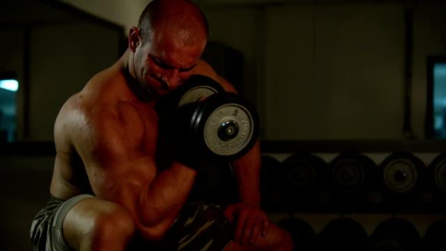 vídeos y material grabado en eventos de stock de músculo joven hombre ejercicios - forzudo