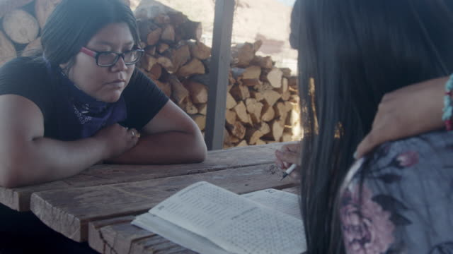 young native american navajo siblings in monument valley in front of their home at an outdoor table doing homework together home schooling during the covid-19 pandemic - childhood stock videos & royalty-free footage