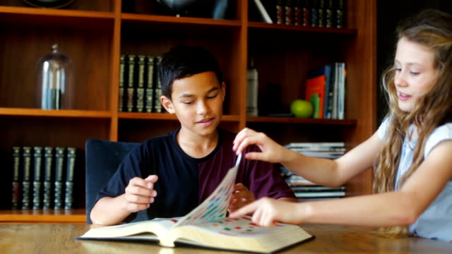 Giovane Nuova Zelanda bambini leggendo un libro insieme,