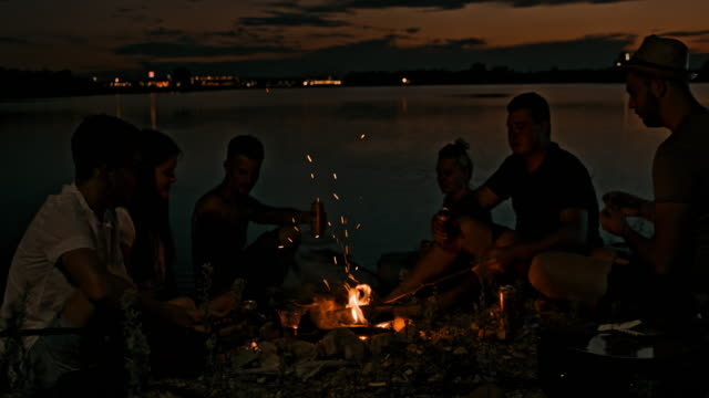 slo mo young people drinking by a campfire by the lake - 20 29 years stock videos & royalty-free footage