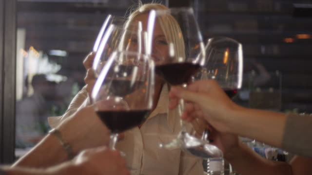 young people enjoying with red wine 4k slow motion - ladies' night stock videos and b-roll footage