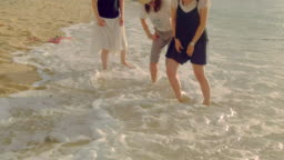 Young people having fun on the beach.