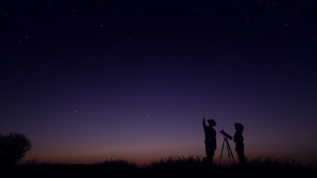 young people observing the night sky - looking up stock videos & royalty-free footage
