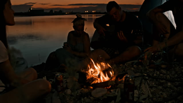 slo mo young people singing and playing guitar by a campfire by the lake - 20 29 years stock videos & royalty-free footage